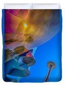 Space Needle And Emp In Perspective Hdr Duvet Cover