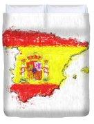 Spain Painted Flag Map Duvet Cover