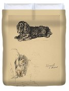 Spaniel And Chow, 1930, Illustrations Duvet Cover