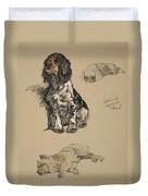 Spaniel, Pekinese And Chow, 1930 Duvet Cover