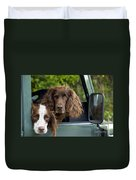 Spaniels In Car Duvet Cover
