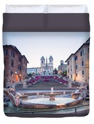 Spanish Steps Famous Stairway Rome Italy Duvet Cover