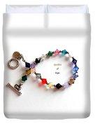 Sparkles Of Hope Cancer Bracelet Duvet Cover by Barbara Griffin