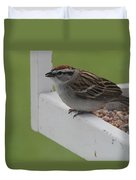 Sparrow On Feeder Duvet Cover