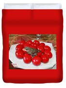 Sparrow On Red Eggs Duvet Cover