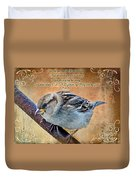 Sparrow With Verse Duvet Cover