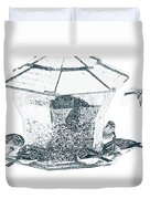 Sparrows In Charcoal Duvet Cover