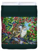 Sparrows On The Hawthorn Duvet Cover