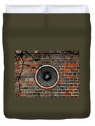 Speaker On A Cracked Brick Wall Duvet Cover