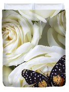 Speckled Butterfly On White Rose Duvet Cover