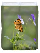 Speckled Yellow Moth On Pansy Wild Flower Duvet Cover