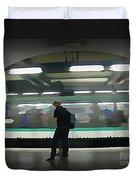 Speeding Subway Train Duvet Cover