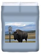 Speedy Bison In Yellowstone National Park Duvet Cover