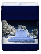 Sphinx Profile Near Infrared Blue And White Duvet Cover