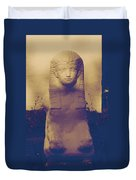 Sphinx Statue Blue Yellow And Lavender Usa Duvet Cover