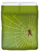 Spider Web With Dew Drops With Spider On Web Duvet Cover