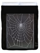 Spider Web With Frost Duvet Cover