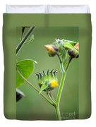 Spiky Green Wild Flowers Duvet Cover