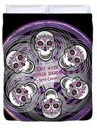Spinning Celtic Skulls In Purple Duvet Cover