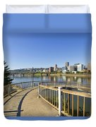 Spiral Bridge Walkway To The Esplanade Duvet Cover