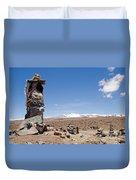 Spiritual Cairn In The Peruvian Altiplano Duvet Cover