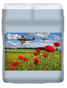 Spitfires And Poppy Field Duvet Cover