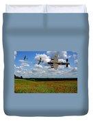 Spitfires Lancaster And Poppy Field Duvet Cover