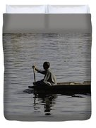 Splashing In The Water Caused Due To Kashmiri Man Rowing A Small Boat Duvet Cover