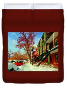 Splendor And Colors Of Quebec Winters Verdun Montreal Urban Street Scene Carole Spandau Duvet Cover