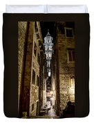 Split Cathedral From The Temple Of Jupiter At Night Croatia Duvet Cover