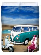 Splitty Vw Beetle And Scooters Duvet Cover