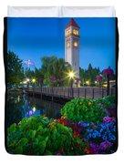 Spokane Clocktower By Night Duvet Cover