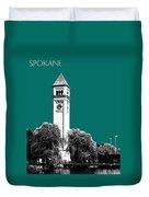 Spokane Skyline Clock Tower - Sea Green Duvet Cover