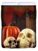 Spooky Halloween Skulls Duvet Cover by Edward Fielding