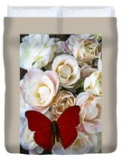 Spray Roses And Red Butterfly Duvet Cover