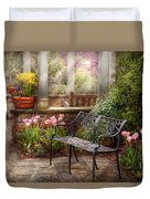 Spring - Bench - A Place To Retire  Duvet Cover by Mike Savad