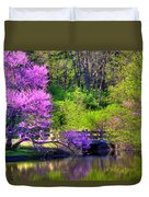 Spring Blossoms On Lake Marmo Duvet Cover