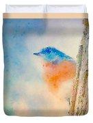 Spring Blues - Digital Watercolor Duvet Cover