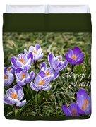 Spring Crocus With Scripture Duvet Cover