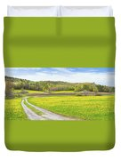 Spring Farm Landscape With Dirt Road And Dandelions Maine Duvet Cover