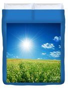 Spring Field With Flowers And Blue Sky Duvet Cover