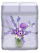 Spring Flowers In A Jam Jar Duvet Cover by Ann Garrett