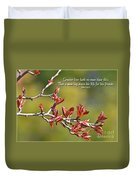 Spring Leaves Greeting Card With Verse Duvet Cover
