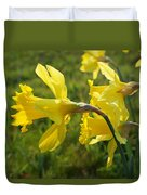 Spring Meadow Field Daffodil Flowers Duvet Cover