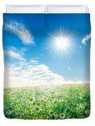 Spring Meadow Under Sunny Blue Sky Duvet Cover