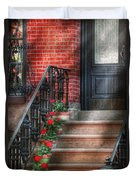 Spring - Porch - Hoboken Nj - Geraniums On Stairs Duvet Cover by Mike Savad