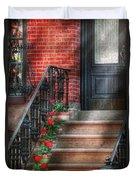 Spring - Porch - Hoboken Nj - Geraniums On Stairs Duvet Cover