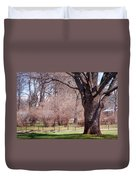 Spring Tree At Soft Rosy Spring In The Garden Duvet Cover by Jenny Rainbow