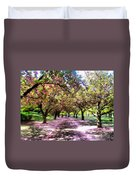 Spring Walkway Lined By Blooming Cherry Trees Duvet Cover