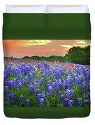 Springtime Sunset In Texas - Texas Bluebonnet Wildflowers Landscape Flowers Paintbrush Duvet Cover by Jon Holiday